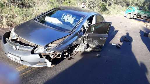 Danos materiais em acidente registrado no interior de Seara