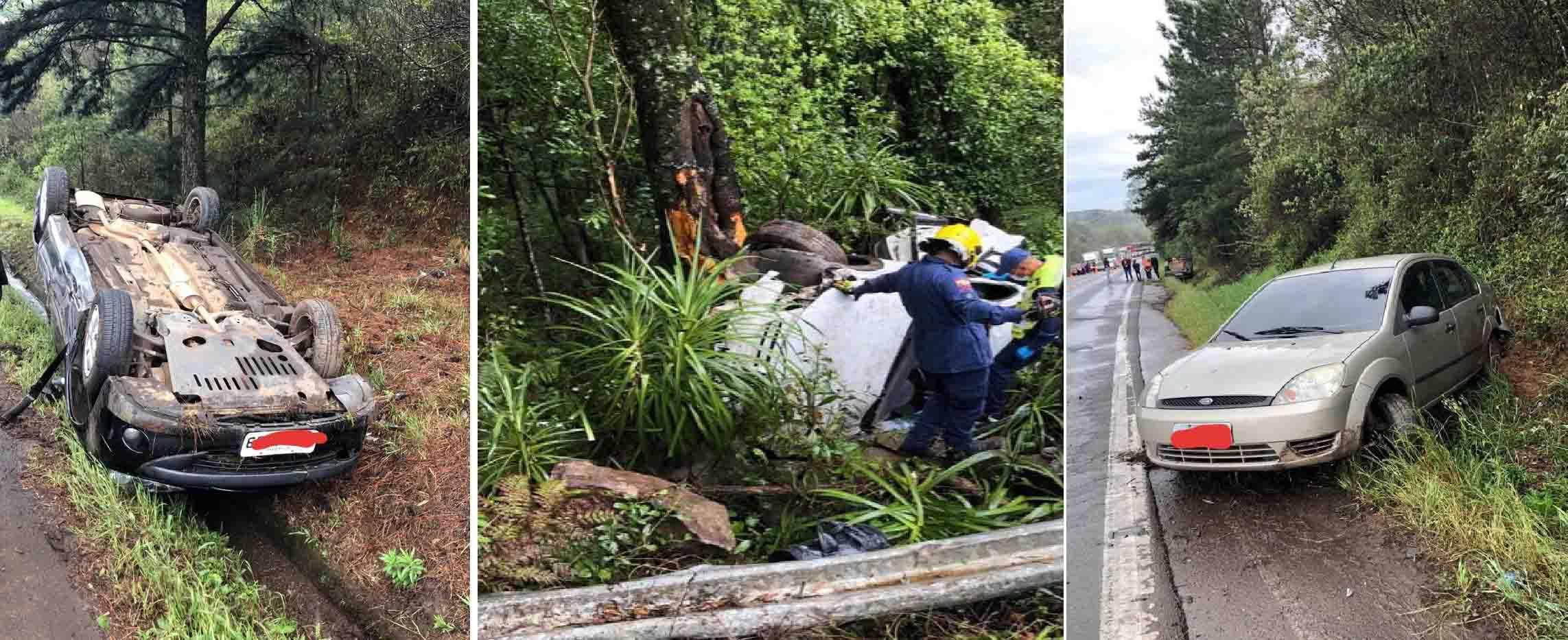 Óleo na pista causa três acidentes na manhã de domingo na BR-282 em Ponte Serrada