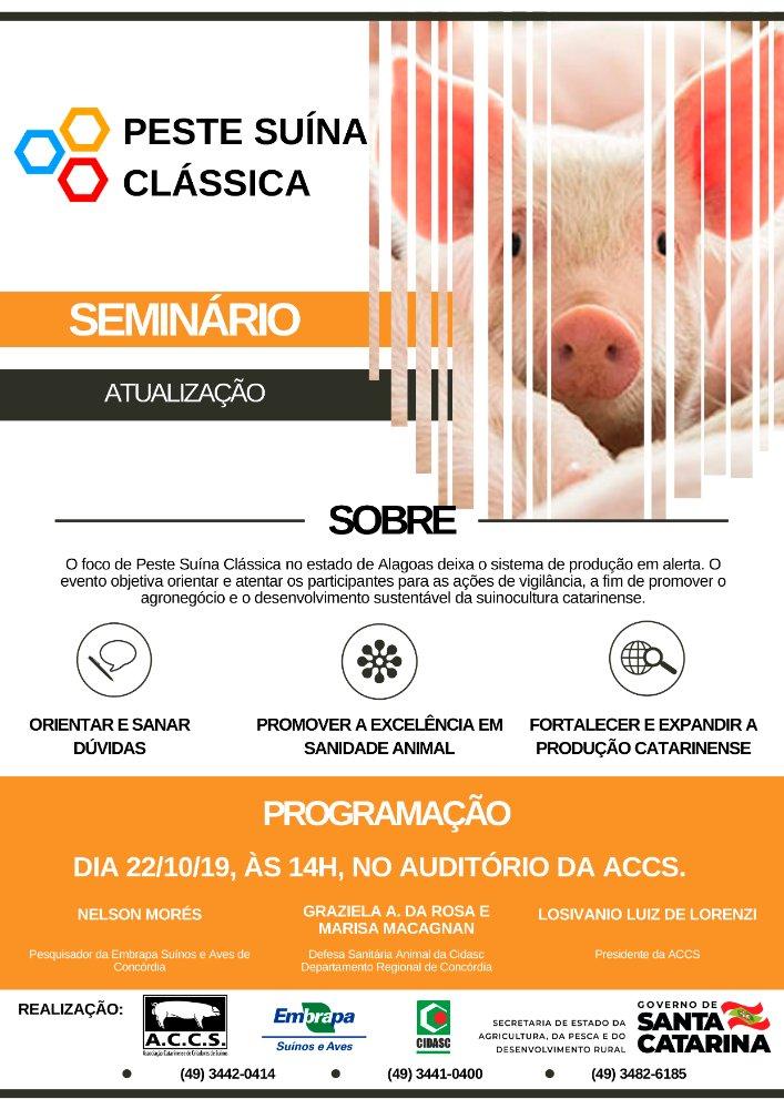 Peste Suína Clássica será tema de Seminário em Concórdia