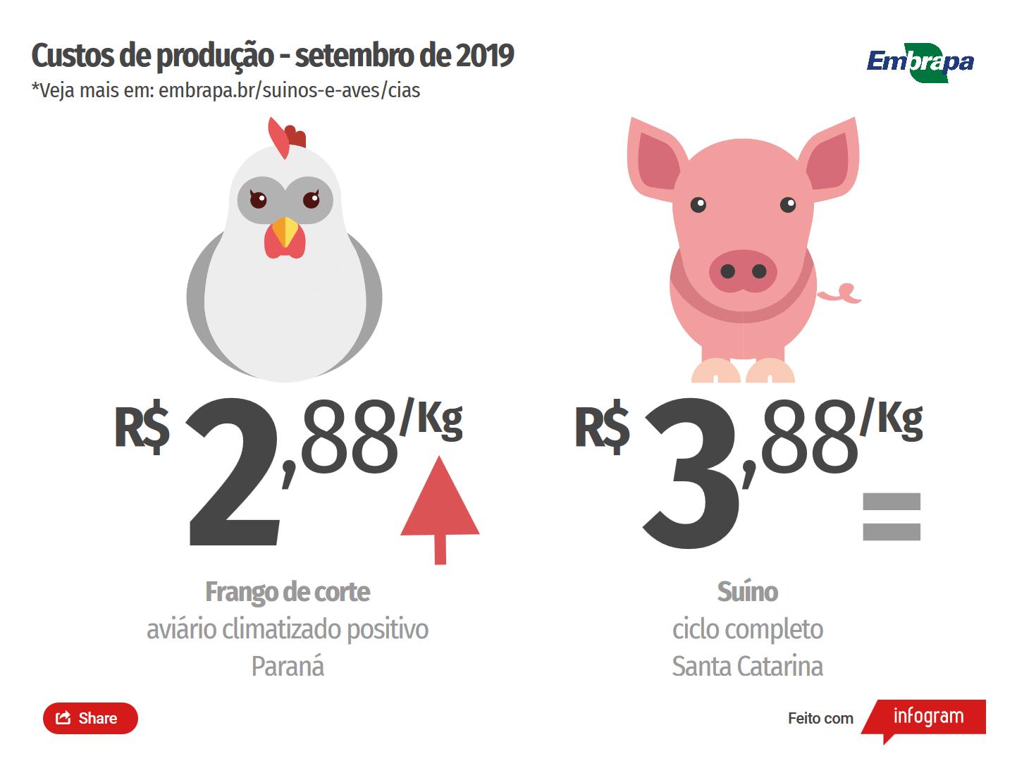 Custos de produção de suínos se mantêm estáveis em setembro; produzir frango fica mais caro