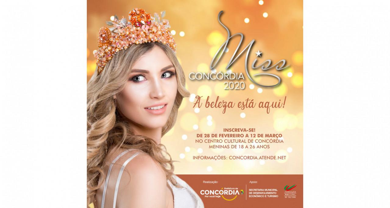 Inscrições para o Miss Concórdia 2020 abrem nesta sexta-feira