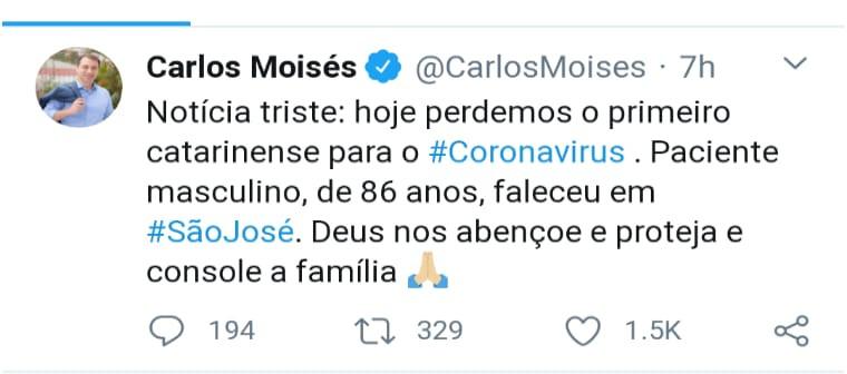 Idoso da grande Florianópolis morre por coronavírus