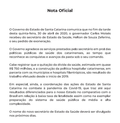 Secretário de Saúde de SC deixa governo após supostas irregularidades em compra de respiradores