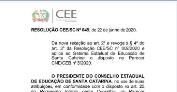 Resolução do CEE autoriza aulas remotas até dezembro