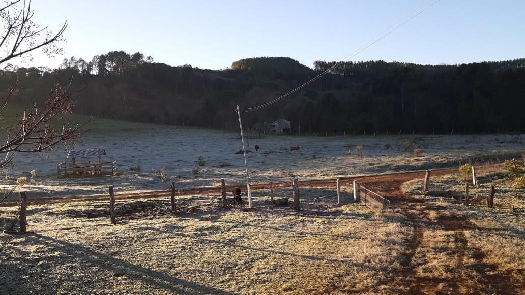 Geada deixa paisagem branca no começo da manhã deste sábado