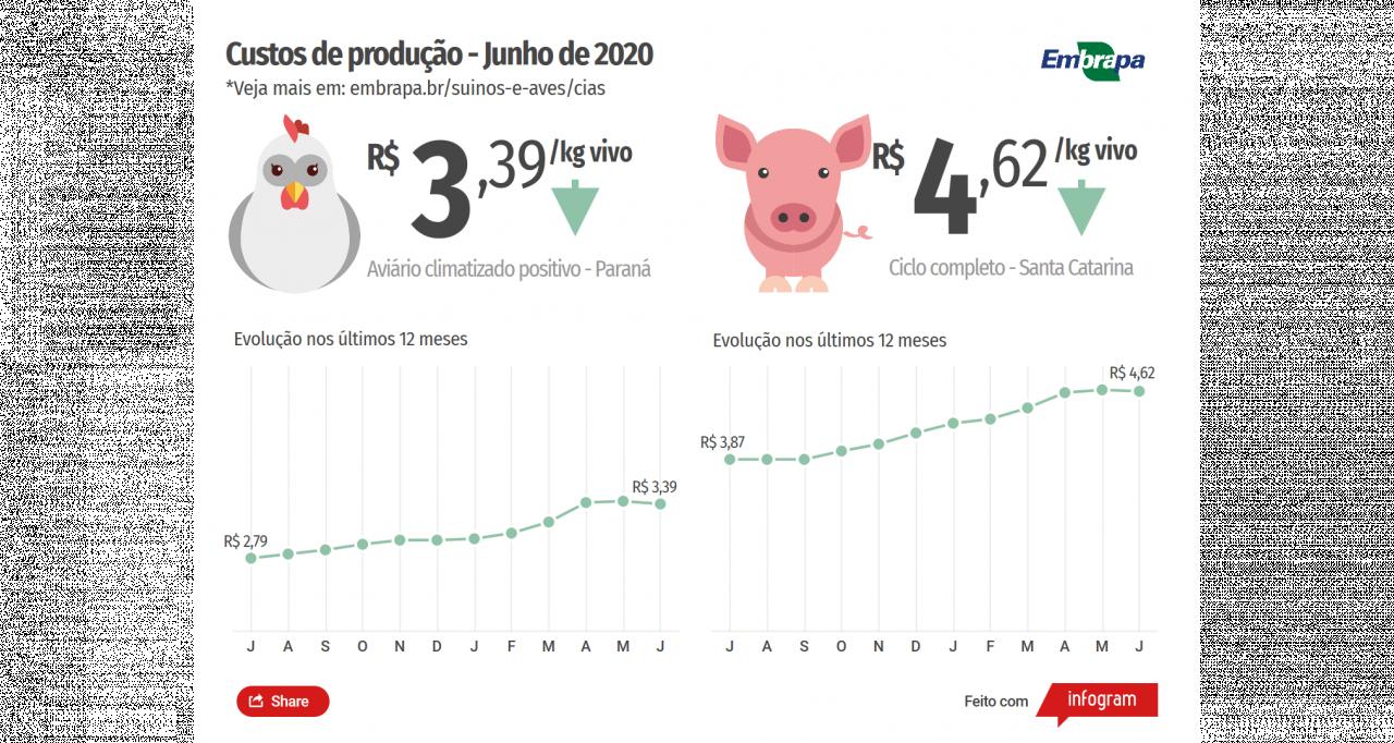 Custos de produção de suínos e de frangos de corte caem pela primeira vez no ano