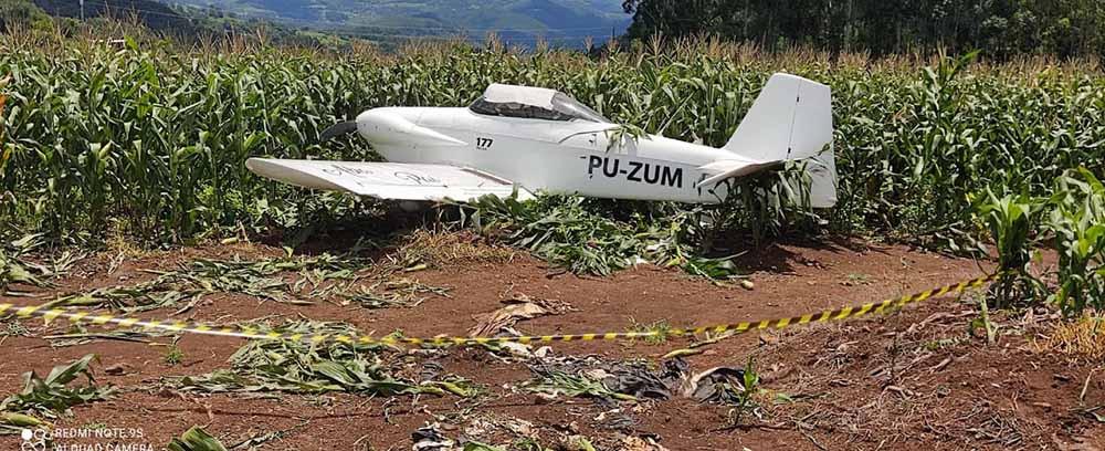 VÍDEO - Avião de pequeno porte faz pouso forçado em plantação de milho em Concórdia