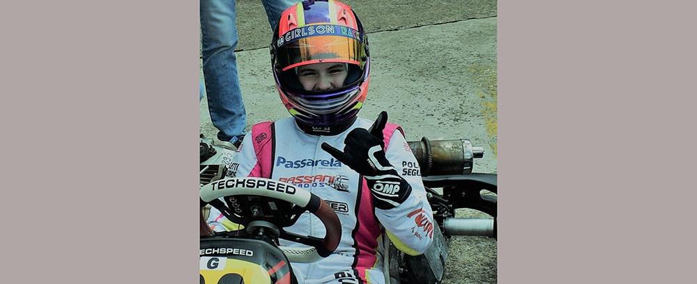Piloto concordiense Antonella Bassani é campeã estadual de kart Júnior