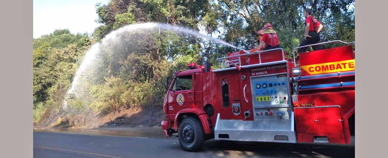 Fogo atinge vegetação seca na SC-154 em Linha Paraíso, Arabutã