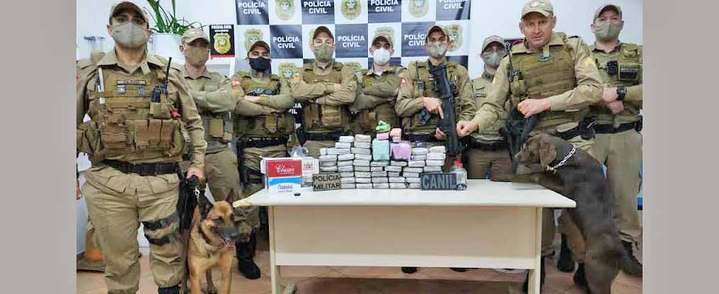 Polícia Militar apreende quase 40 quilos de maconha em Peritiba