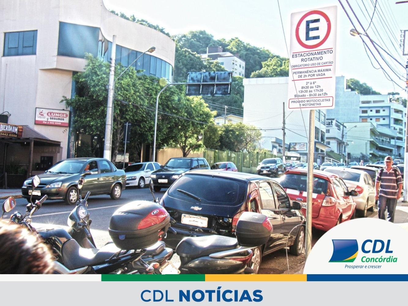 Estacionamento sem rotatividade preocupa CDL Concórdia