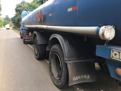 Carreta de combustível com placas de Concórdia se envolve em acidente em Jaborá